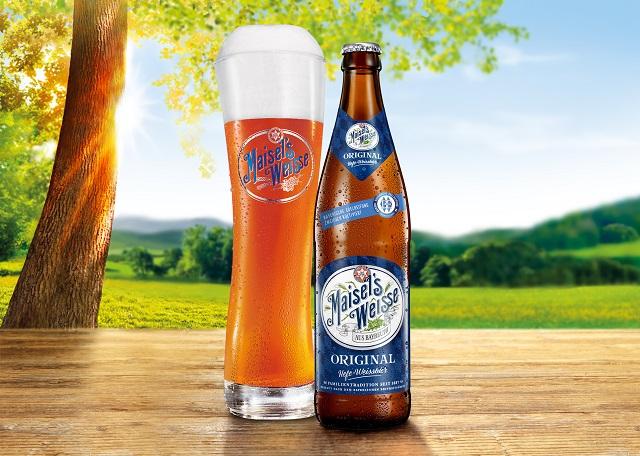Maisel`s Weisse Original Bieflasche und Glas