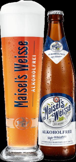 Maisel's Weisse Alkoholfrei Glas und Flasche