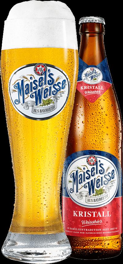 Maisel's Weisse Kristall Glas und Flasche