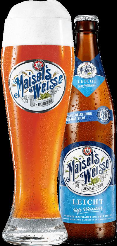 Maisel's Weisse Leicht Glas und Flasche