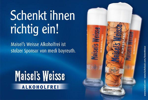 Maisel's Weisse Alkoholfrei ist stolzer Sponsor von medi bayreuth