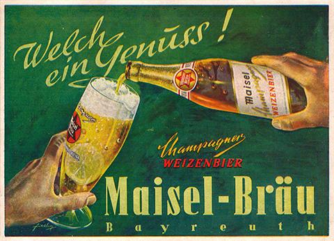 Werbeplakat des Champagner Weizenbier der Maisel-Bräu