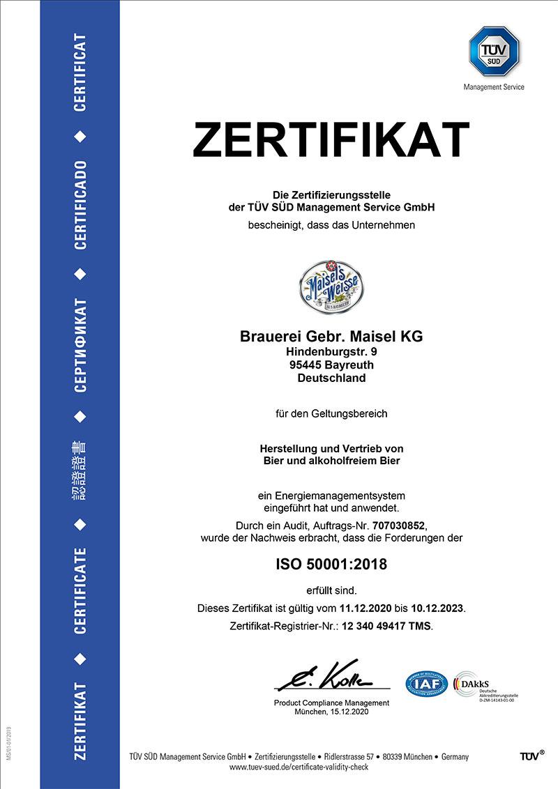 DIN-ISO-50001-2018 Zertifikat der Brauerei Maisel