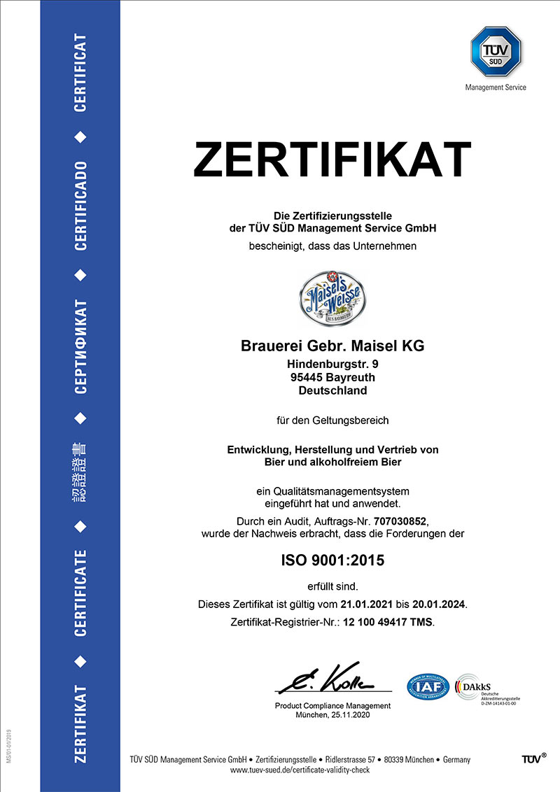 Zertifikat DIN-ISO-9001-2015 der Brauerei Maisel