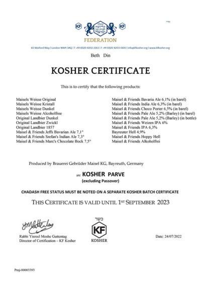 Koscher Zertifikat der Brauerei Maisel