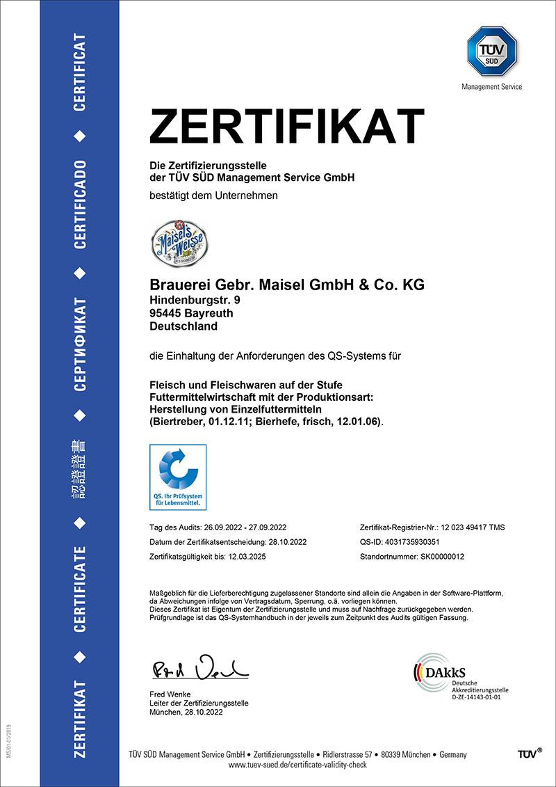 QS-Zertifikat der Brauerei Maisel